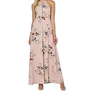 Dresses & Skirts - NWT Taupe floral high neck maxi dress